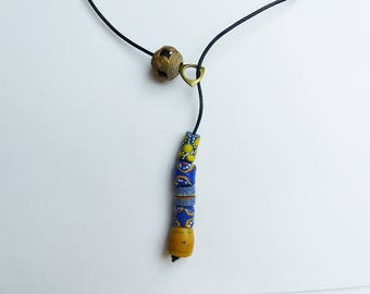 Necklace glass beads and brass * blue & yellow