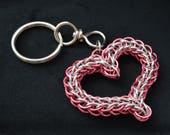 Heart-shaped chainmaille keychain