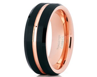 Rose Gold Tungsten Men's Wedding Band Tungsten Carbide Ring Men & Women Black Tungsten Band Brush