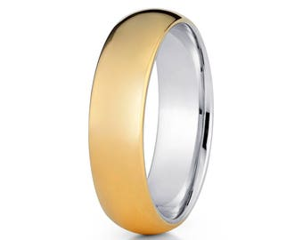 Yellow Gold Wedding Band 14k Yellow Gold Ring Titanium Wedding Band Anniversary & Engagement Ring Comfort Fit Ring