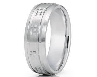Hashtag Wedding Band White Gold Wedding Ring 14k Gold Ring Men & Women Hashtag Wedding Ring Brush Finish Comfort Fit