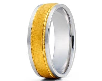 White Gold Wedding Band Wood Grain Wedding Ring Anniversary Ring Men & Women Gold Wedding Ring Anniversary Ring Brush Ring