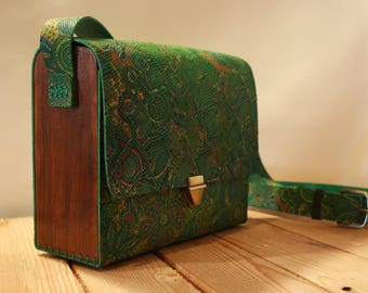 Green Wood Leather Bag | Green Leather Purse | Women's bag | Shoulder Bag | Leather Purse | gift for her