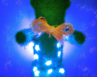Bear Teddy LED, Night Light Child Adult Decorative Ambience, Holiday, Wedding Christmas Gift, Sculpture, Art Object Natural Plant Mousse