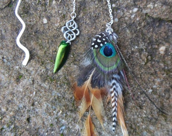 Bookmarks ethnic tribal style with natural peacock feathers
