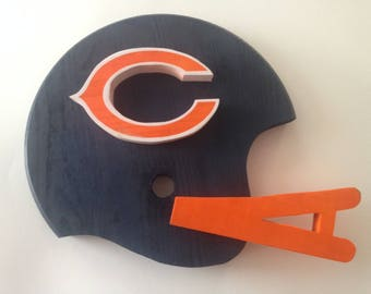 Handmande Chicago Bears 3D Football Helmet Wall Decor