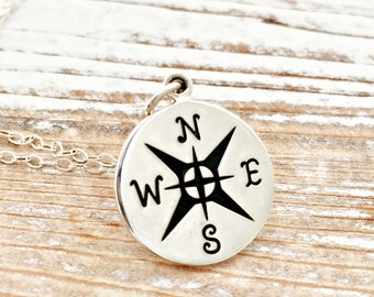 Compass Necklace - sterling silver nature jewelry - hiking gift for her - find your way - adventure - wanderlust - direction
