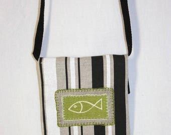 Shoulder bag applied little green fish