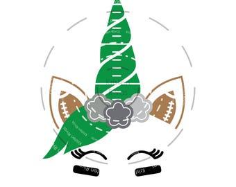 Football Unicorn, SVG, DXF, PDF digital cut files. Cute Sports, ball, team, game day shirt design. Cut & print, vector, instant download