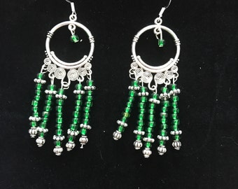 Jade green glass bead chandelier earrings