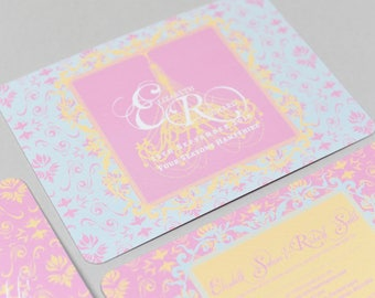Opulence Pink & Blue Invitation