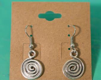 Silver Metal Swirl Spiral Earrings