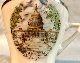 Vintage Miniature Washington D C Hand Painted Souvenir Tea Cup