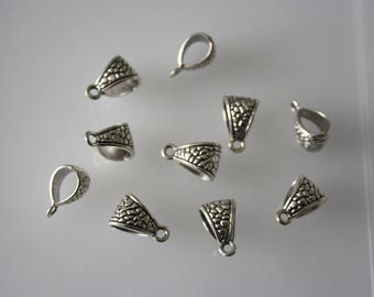 Color x 10 silver jewelry bail. Jewelry making.