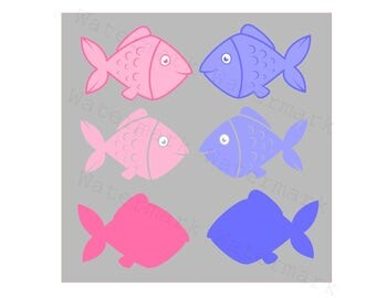 Baby Fish SVG and Studio 3 Cut File Cutouts Files for Silhouette Cricut Silhouette Downloads Brother Decal Party Best Decoration SVGs