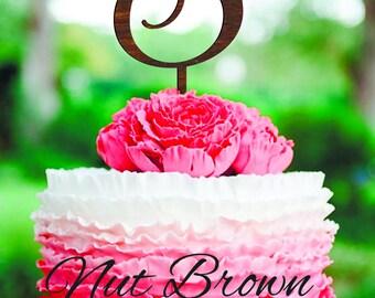 Wedding cake topper S Cake Topper wood gold monogram cake topper initial cake topper Rustic Wedding Personalized wedding cake topper S F R E