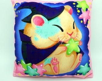 Magical Hamster Kawaii Decorative Pillow Soft Minky