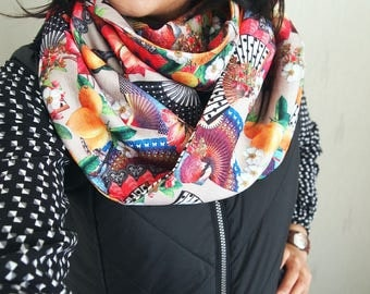 Snood collar double, midseason, psychedelic, original nature patterns