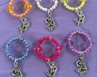 Grateful Dead Dancing Skeletons Wine Glass Charms Deadhead / Hippie Wine Charms  Halloween Wine Charms