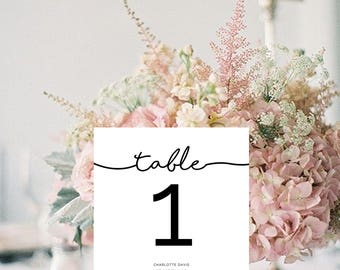 Table Numbers Wedding Printable, Table Numbers Template, Table Number Template, Instant Download, Printable Table Numbers, Instant Download