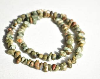 Green Gemstone Rhyolite Necklace / Natural Nugget Marbled Necklace / Multicolor Genuine Beaded Necklace / Minimalist Necklace / Gift for Her