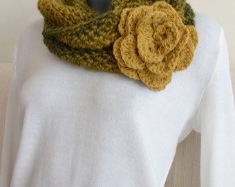 warm knitted scarf in beautiful autumn colors
