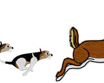 Dogs Hunting Deer Embroidery File