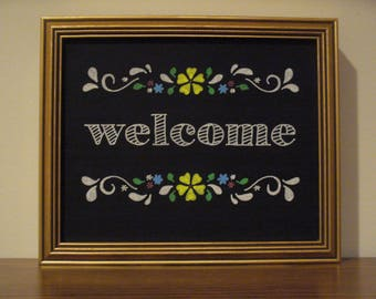 Handcrafted Chalkboard Art:   Floral Welcome