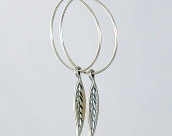 Boho Hoop Earrings - Silver Leaf Earrings - Bohemian Wedding Earrings - Gifts for Women - Large Sterling Silver Hoops - Boho Chic Jewelry
