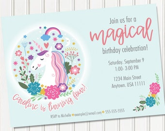Unicorn Invitation, Unicorn Birthday Invitation, Magical Unicorn Invite