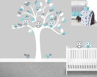 SALE, Owl tree wall decal, Gray Sweet JoJo  Designs, Earth and Sky,  Boy's nursery decals, Owl stickers, Baby boy wall decals, Chevron,