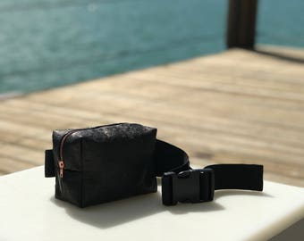 Black Widow Fanny Pack - Black Ostrich Embossed Leather Stash Bag