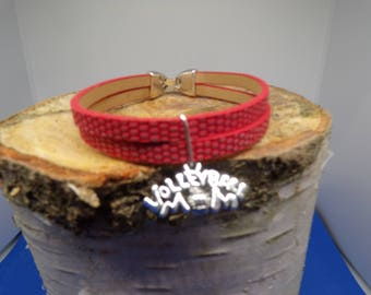 Bracelet cord flat red faux leather with volleyball charm