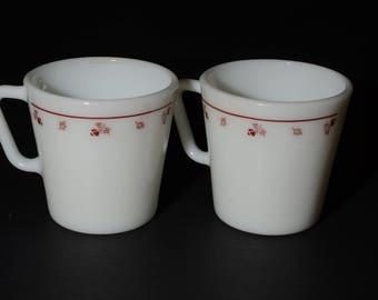 PYREX, White with Burgundy Rose Design, Coffee/tea mugs - Set of 2, D handle, Coffee mugs, Tea Cups, Milk glass, Vintage