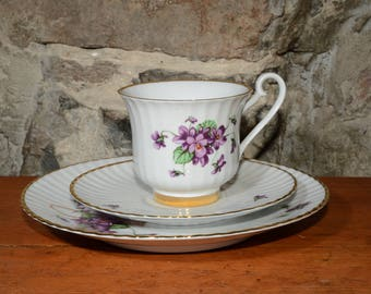 BAVARIA, Bone China, German, Footed, Teacup, saucer and plate, Large Gold Rimmed, Violets, with green, Vintage, Floral, Gold foot