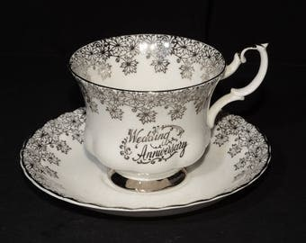 ROYAL ALBERT, Bone China, Teacup, and saucer, Wedding Anniversary, silver pattern, footed cup with matching saucer