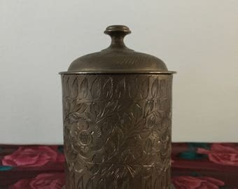World Gift India Carved Etched Brass Trinket Container