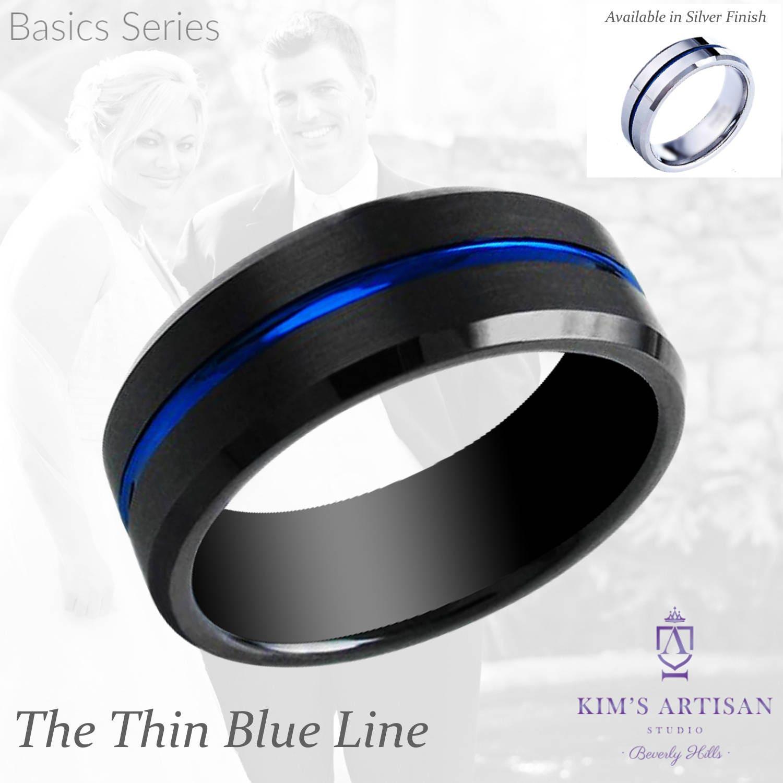 Thin Blue Line Tungsten Wedding Band Police Officer Black
