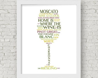 White Wine Print -- White Wine Typography Art -- New Home Gift --White Wine Dining room art -- Kitchen Wall Art -- Wine Lover Gift