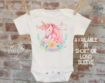 Pink Unicorn Crest Personalized Onesie®, Customized Onesie, Pink Unicorn Onesie, Boho Baby Onesie, Girl Name Onesie - 357H