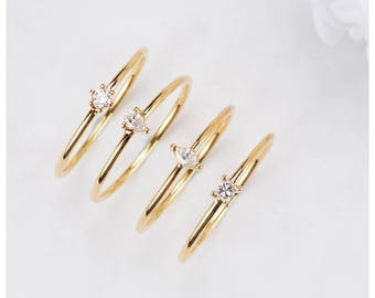 18k Yellow gold rose gold White Gold princess round marquise pear cut Diamond stackable Ring Wedding Band delicate Diamond Ring stackable