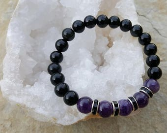 Inner peace AMETHYST+BLACK ONYX 8mm gemstone beads healing bracelet