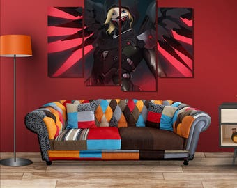 Overwatch Poster Black Mercy Canvas Wall Art Wall Decor Framed Wall Art Home Decoration Large Canvas