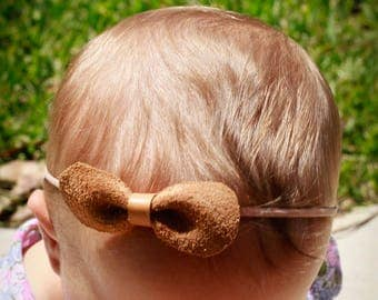 Rounded Suede Bow with Natural Colored Headband - Baby Gift - Baby girl - Baby Shower -Baby Bow - Baby Headband