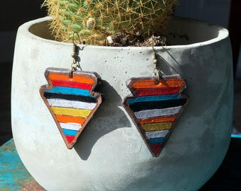 Serape Collection Arrowhead Earrings | Leather Earrings | Birthday Gift | Anniversary | Gifts under 25 | Handmade | Gifts for Her