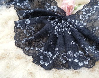 1yd (0.91m) of Raschel Stretch Lace- Secret black and silver floral pattern - 17cm(6.7inch) Wide,RL_SL005