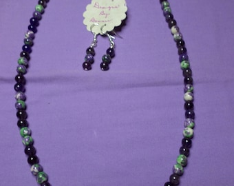 "20"" Beaded Necklace of Purple Flower Jasper and Amethyst Beads with Matching Earrings"
