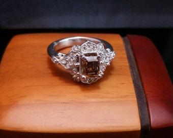 Chocolate Diamond Art Deco-style 14K white gold engagement ring