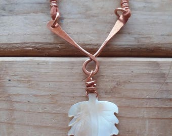 Carved Mother of Pearl Leaf Copper and Leather Necklace