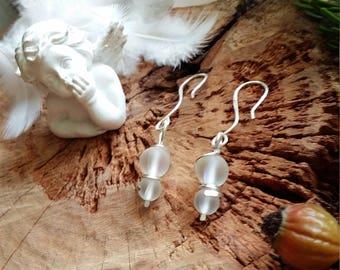Unique - Boucles 'doreille en quartz aura ou mystique aura et en cuivre plaqué